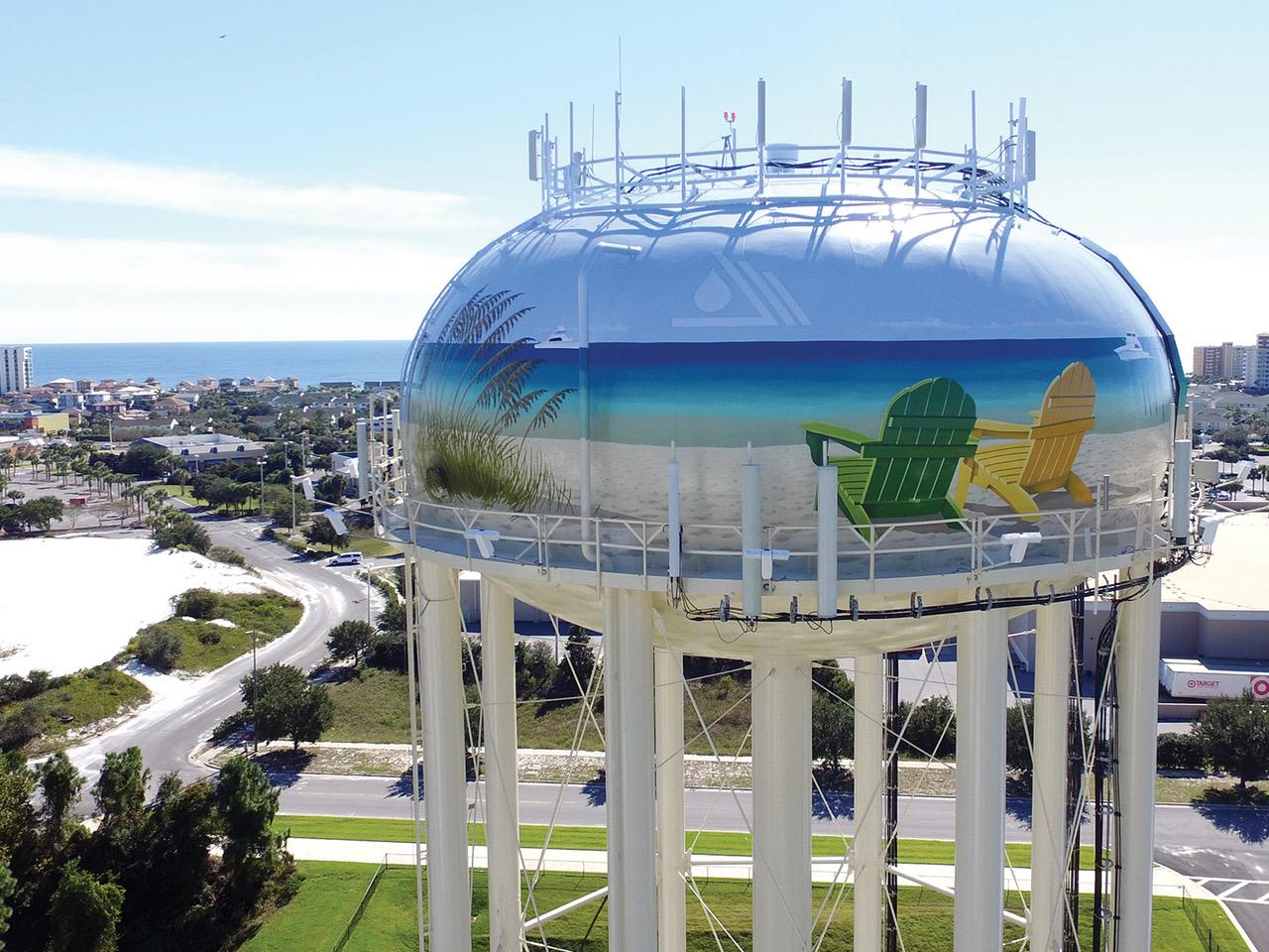Last year's winning entry in Destin, Florida, was a 500,000-gallon legged tank that featured a beach scene by muralist Eric Henn