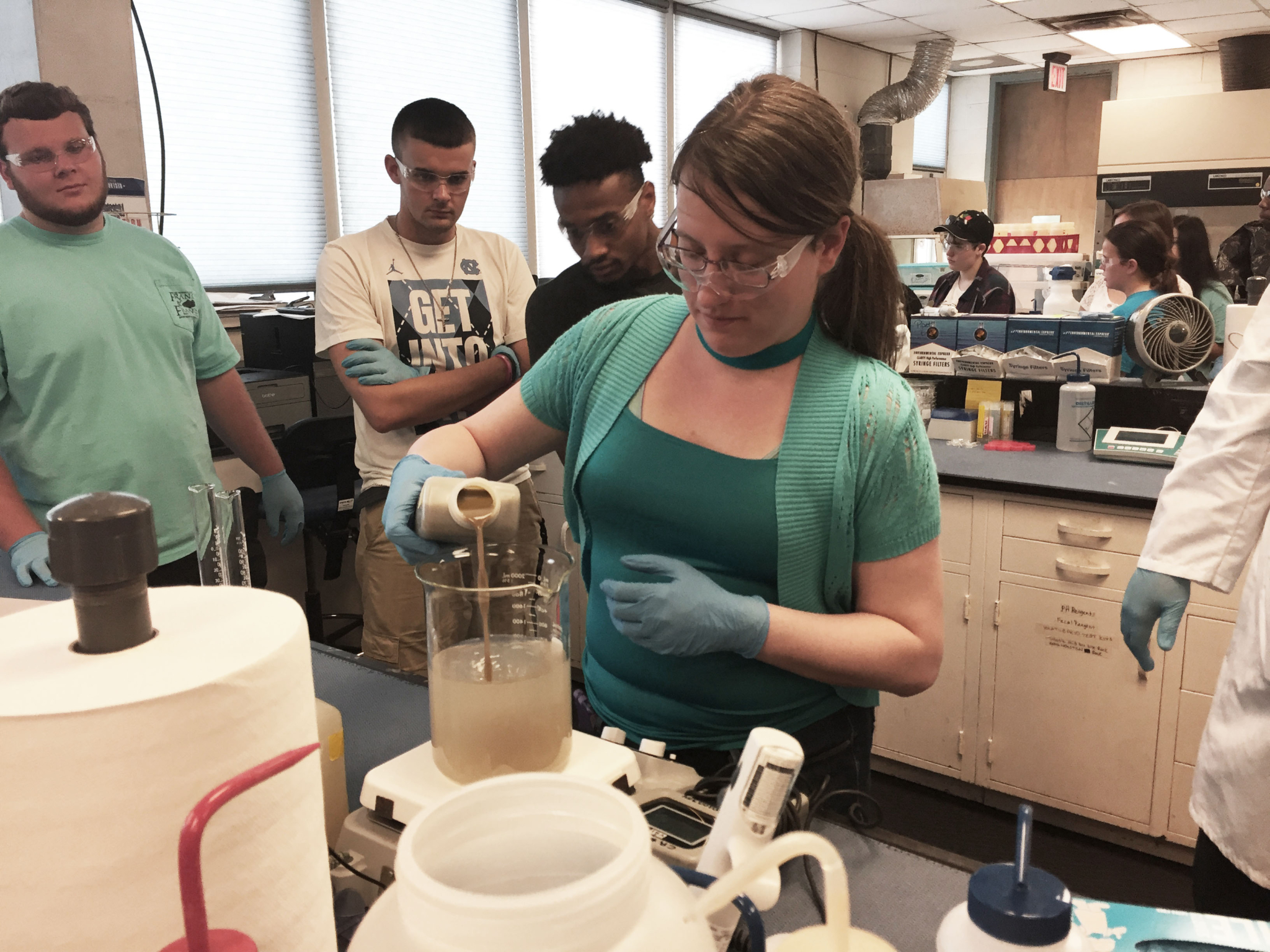 Student Caitlin Edwards performs nitrification rate testing for TRU in the Gaston College lab. (Photo courtesy of Susan Whittemore)