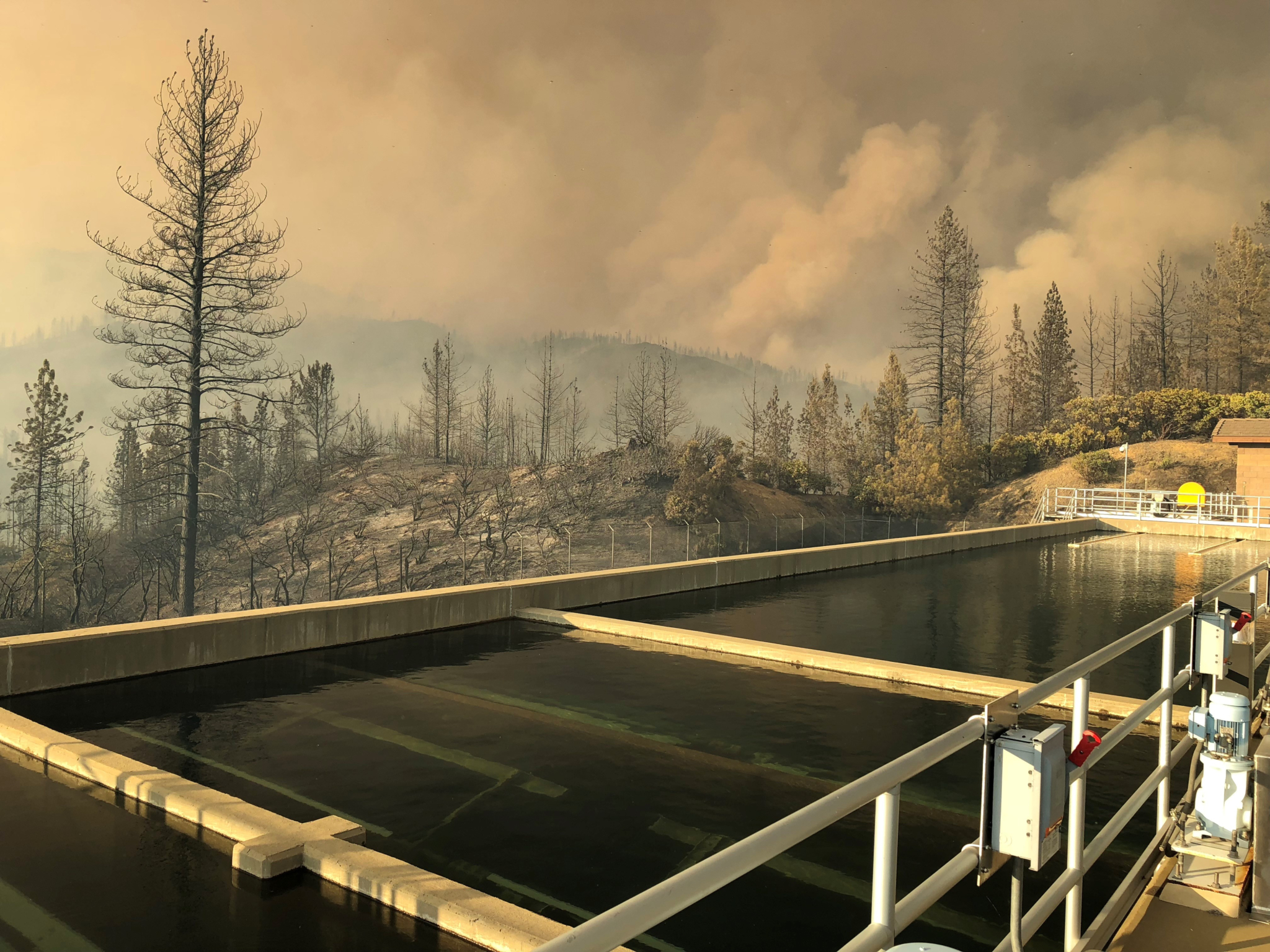 Fire surrounding Buckeye Water Treatment Plant in Redding, California. (Photo by Richard Hinrichs of the State Water Resources Control Board)