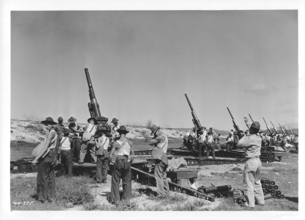 Anti-aircraft guns fire on Orogrande Range.