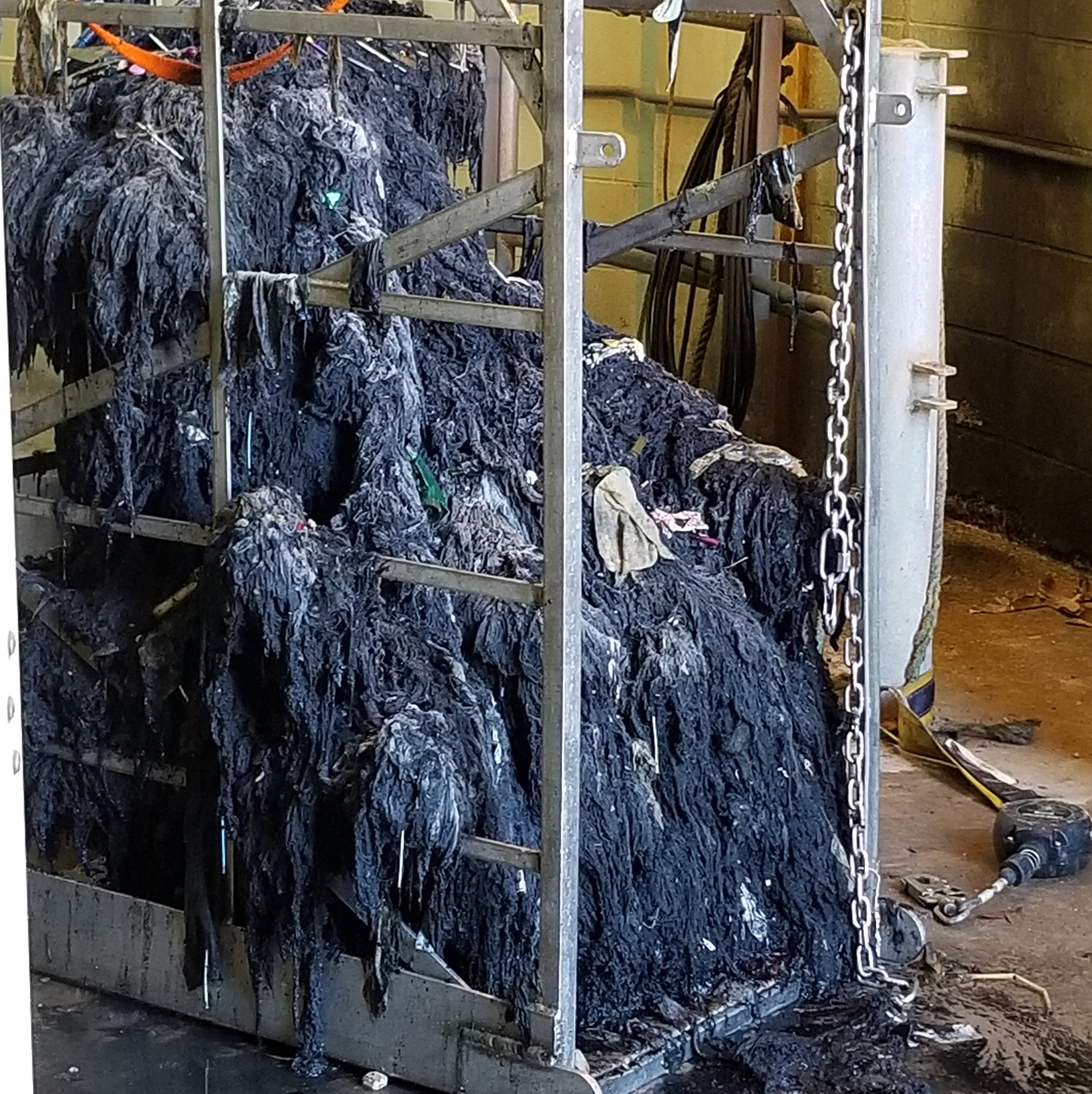 Here's a look at a mass of wipes pulled out of Charleston's wet well.