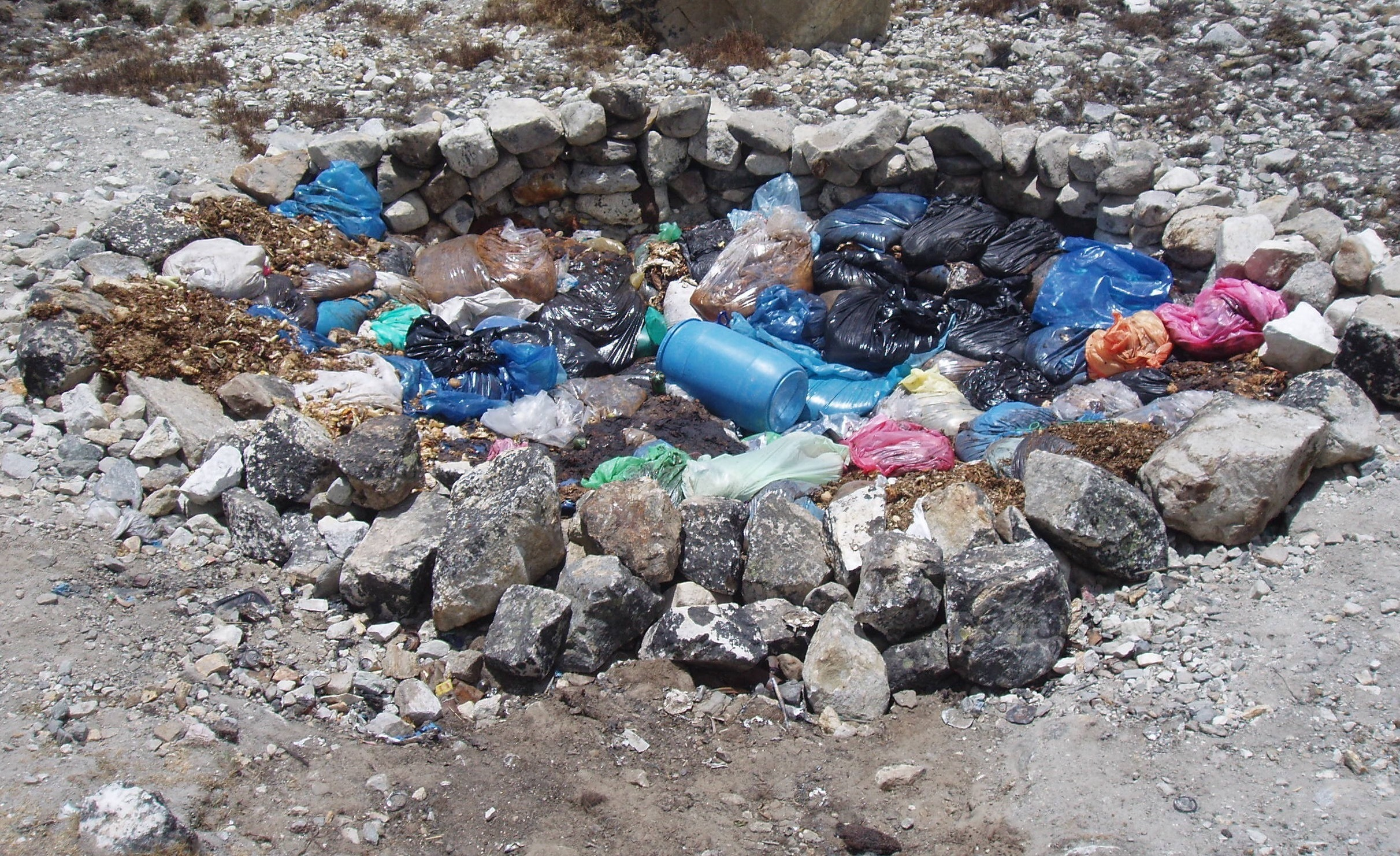 This image shows some of the human waste that litters Mount Everest.